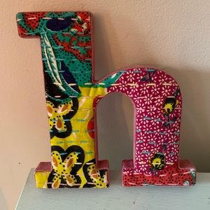 Anthropologie Fabric Letter Lowercase h wall art